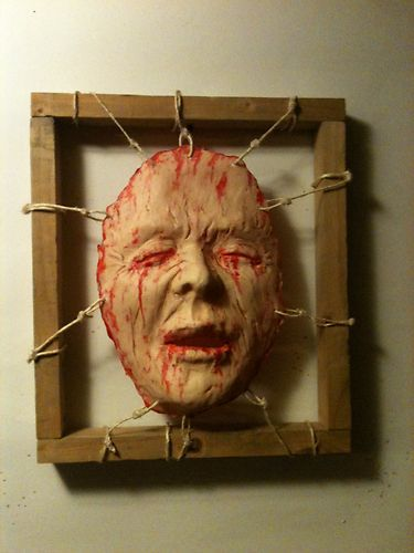 bloody dead skin framed face halloween haunt prop fx gory horror art hand made haunted props horror art and dead skin - Gory Halloween Decorations
