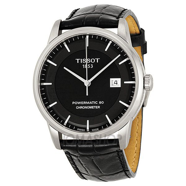 Tissot Luxury Automatic Black Dial Stainless Steel Black Leather Mens Watch T0864081605100