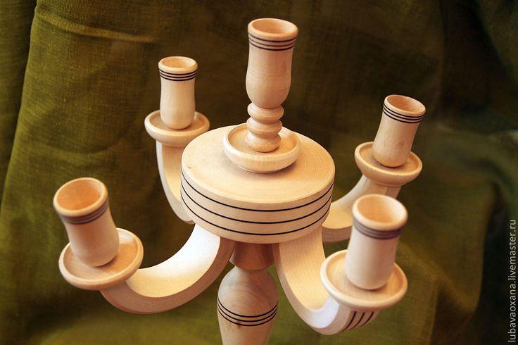 Купить Канделябр для 5 свечей, массив липы - белый, канделябр, Свечи, подсвечник, винтаж, ампир