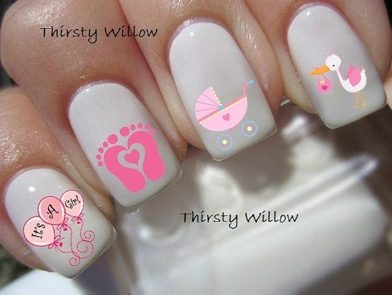 Its A Girl Nail Decals by ThirstyWillow on Etsy, $2.75