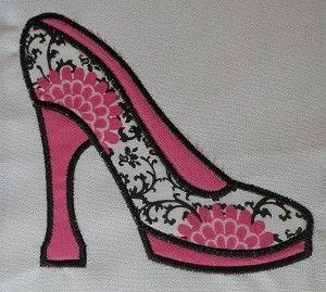 High Heel Shoe Applique Machine Embroidery Design: Appliques High, Shoes Appliques, Machine Applique, High Heels, Heels Shoes, High Heel Shoes, Apply Design, Machine Embroidery Designs, Applique Design