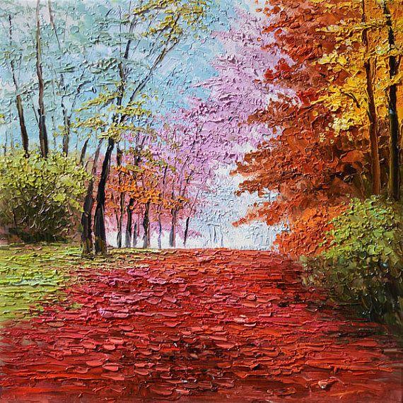 ORIGINAL Oil Painting Seasons 24 x 24 Colorful Landscape Orange Red Blue Pink Green Alley Park Textured Palette knife ART by Marchella. $189.00, via Etsy.