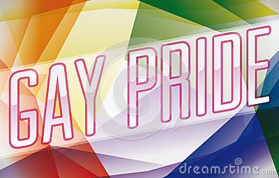 Promotional banner with colorful background commemorating rainbow flag colors for Gay Pride.