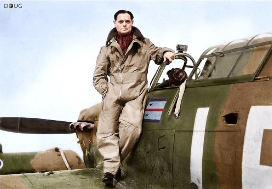 Squadron Leader Douglas Bader of RAF 242 Squadron, standing on his Hawker Hurricane Mk.1 (V7467) LE-D at Duxford (IWM)