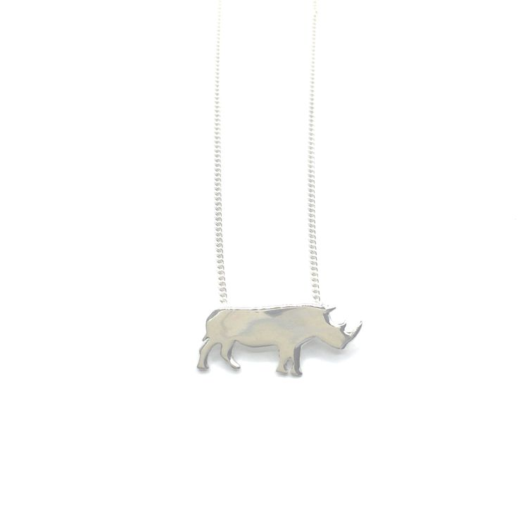 Honour our Rhino.  Rhino pendant onchain.  Available in sterling silver…