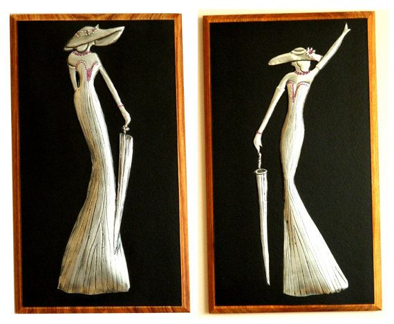 Wall Hanging Pair Pewter Art Deco Ladies by Loutul on Etsy, £45.00
