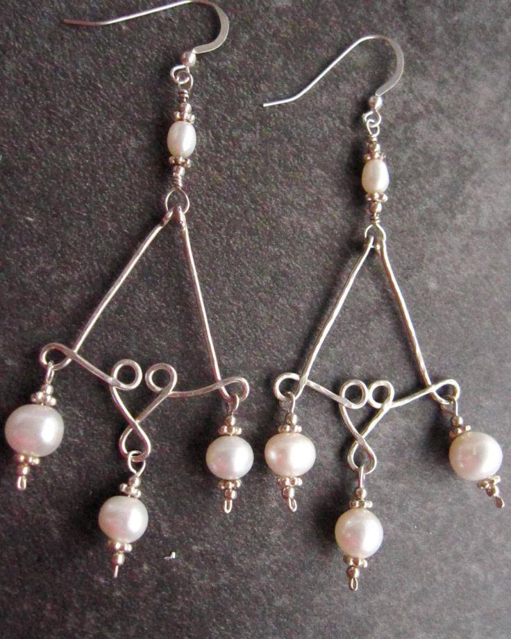 Imperial Silver Pearl Earrings, Long Chandelier Statement Earrings, OOAK Sterling Silver, White Freshwater Cultured Pearls, Bridal Earrings