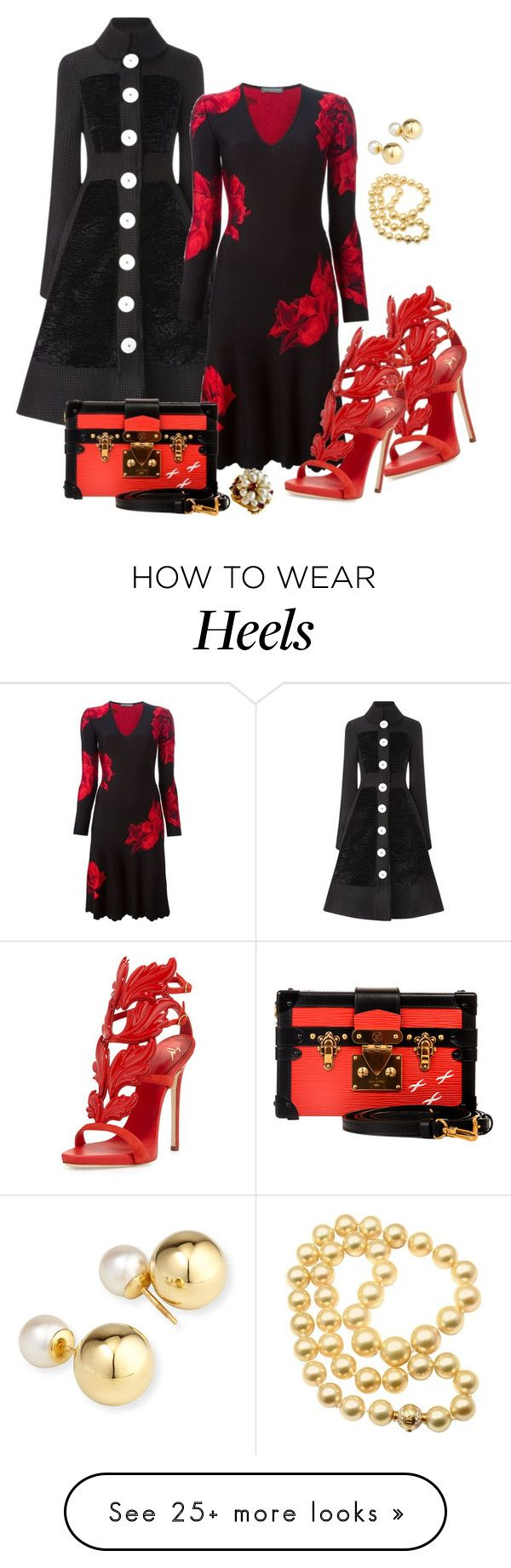 """Red High Heels"" by fantasiegirl on Polyvore featuring A.W.A.K.E., Alexander McQueen, Giuseppe Zanotti, Louis Vuitton, Yoko London and Mikimoto"