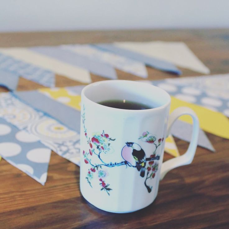 Enjoying a quiet afternoon mixing colours for new bunting along with a lovely cup of Adore Tea Pu-ehr tea