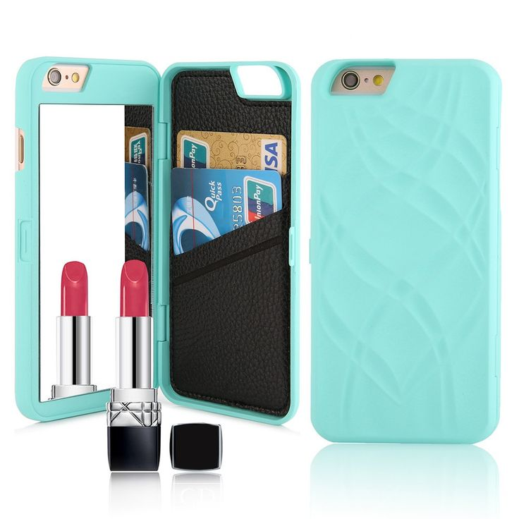 Multifunction Wallet Flip Case For iPhone 5 5S SE 6 6S/Plus (Mirror Dual Layer Card Slot Cover)