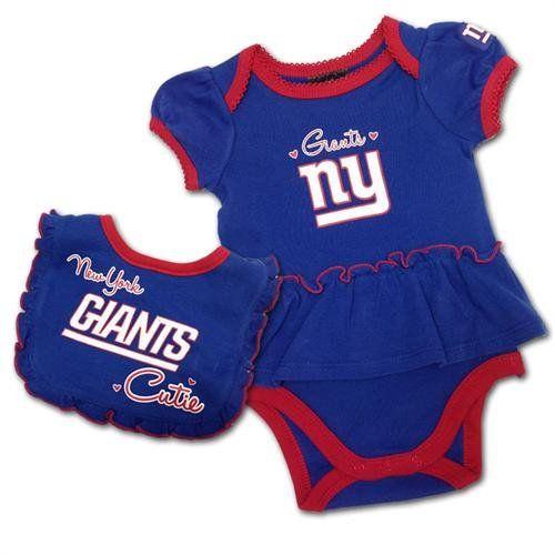 affd0bc3b ... Baby wear Jersey BS NFL New York Giants Girls Bodysuit and Bib Set, 3-6  Months, ...