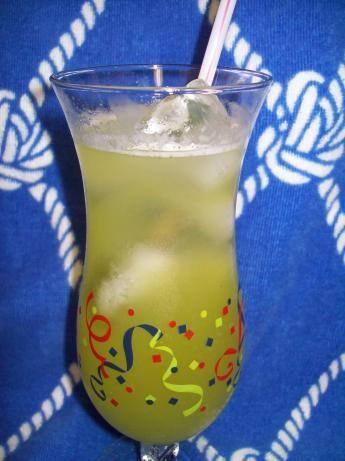 Asian Hooker  Ingredients: 1/4 ounce Bacardi 151 rum 1 1/2 ounces malibu coconut rum 3/4 ounce Midori melon liqueur 5 -6 ounces carbonated lemon-lime beverage 5 -6 ounces pineapple juice  Directions: Pour all ingredients into hurricane glass over ice.