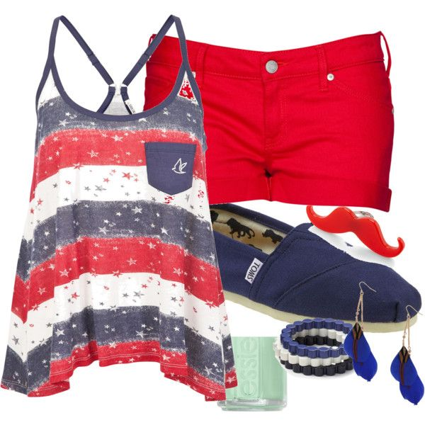 Fourth of July outfit  I like it all but the shoes....I can't do covered shoes in the heat. Gladiators would be cute!