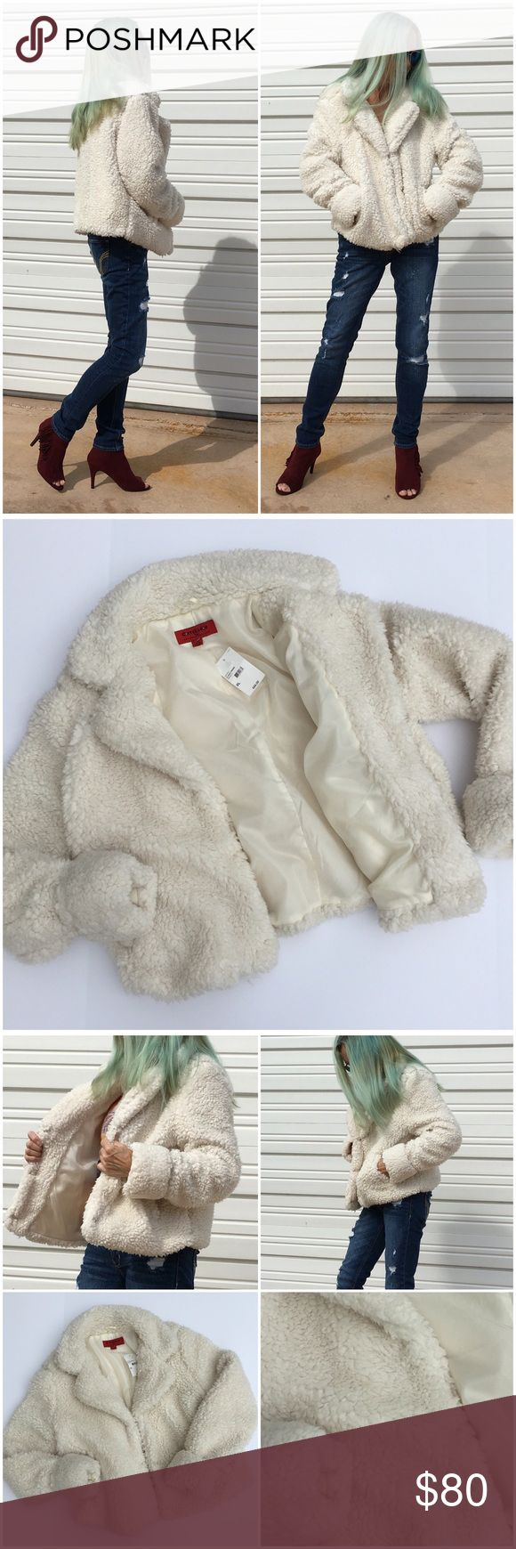 Comfy Cozy Cloud Jacket Oh. My. God. THE most comfy cozy faux fur jacket ever. Gorgeous cloud creme fur, fully lined, cuffed sleeve, hook & eye closure. NWT (ZR1 CoffeeShop Jackets & Coats