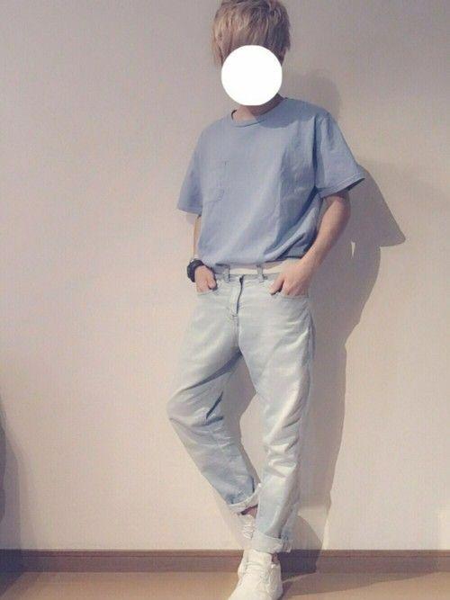 ちょっと前地元に帰った時の、デートコーデです☺️ Tシャツもパンツも古着で色がめちゃくちゃ落ちてし