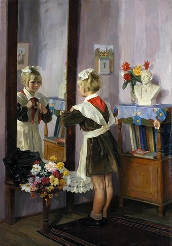 Russian school uniform. 'The 1-st of September' by Anatoliy Volkov,  1960. September 1 is the beginning of the academic year in Russia.