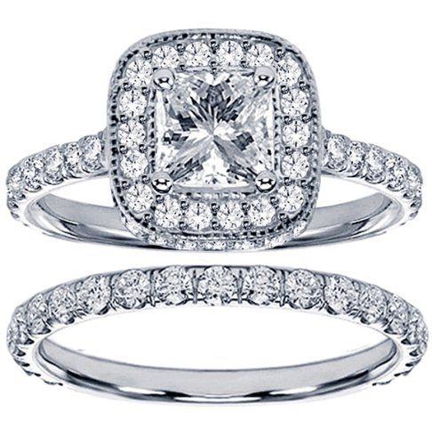 2.42 CT TW Pave Set Diamond Encrusted Princess Cut Engagement Ring Bridal Set in 14k White Gold - Size 7 - This irresistible engagement ring set features a marvelous 0.72 Ct princess cut brilliant natural gem with sparkling VS2-SI1 clarity and F-G co