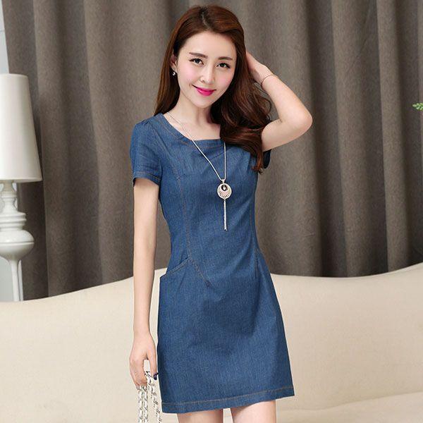 mavi sade ve jean tarzı bir #japon #style #elbiseye ne dersiniz