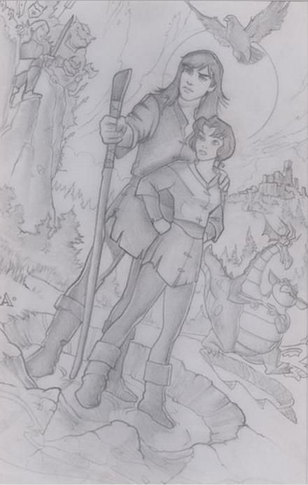 """""""Quest for Camelot"""" by John Alvin - Original production concept art of Kayley and Garrett."""