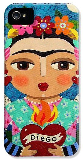Frida Kahlo Iphone 5 Cases - Frida Kahlo Angel and Flaming Heart iPhone 5 Case by LuLu Mypinkturtle