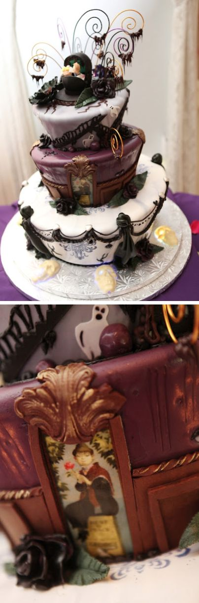 disney haunted mansion wedding cake, a few modifications and this would be  great steampunk wedding cake