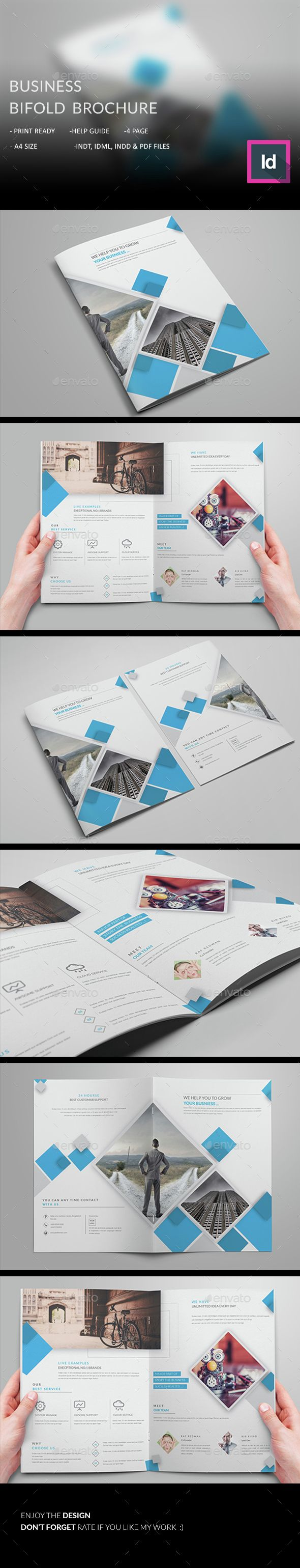Business Bifold Brochure Template InDesign INDD. Download here: http://graphicriver.net/item/business-bifold-brochure-/14764483?ref=ksioks