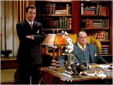 Nero Wolfe (Maury Chaykin) and his trusted associate Archie Goodwin (Timothy Hutton), from the 2001 A & E series based on Rex Stout's mystery novels.