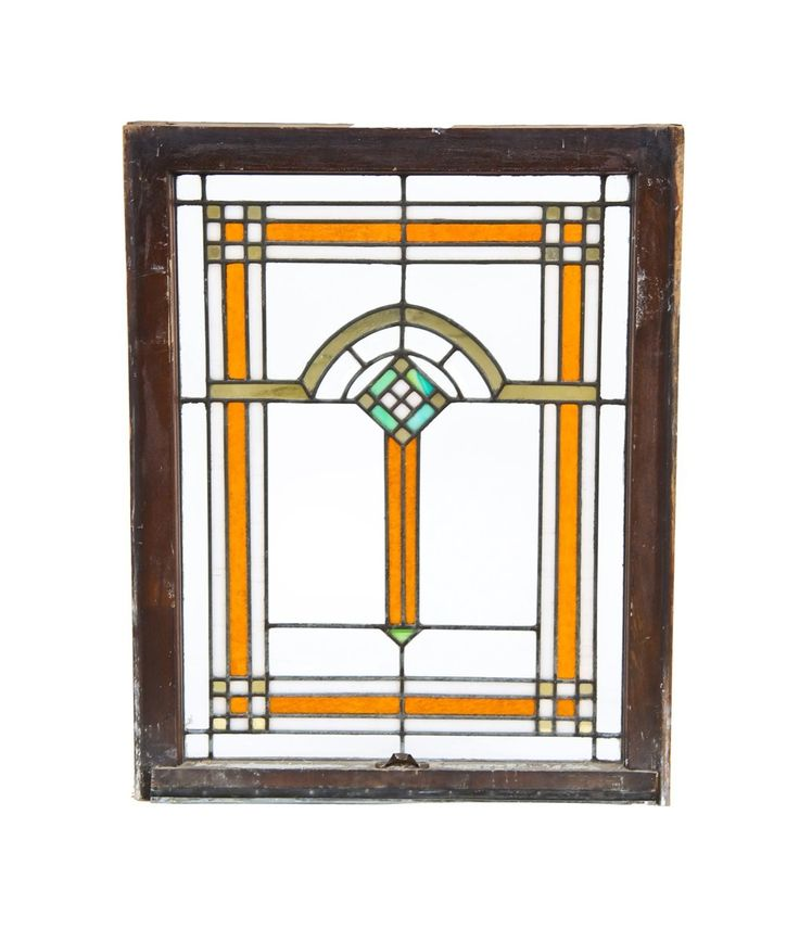 Largely Intact American Vintage Prairie Style Chicago Bungalow Leaded Art Glass Residential Window Accentuated With Gold