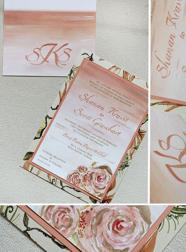 diy wedding invitations for second marriage%0A Light Pink and Peach Ombre Rose Wedding Invitations