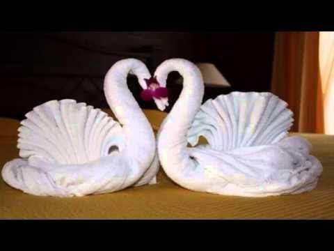 How to make Towel art | Towel Origami Swans | Towel Folding | Towel Animals - YouTube