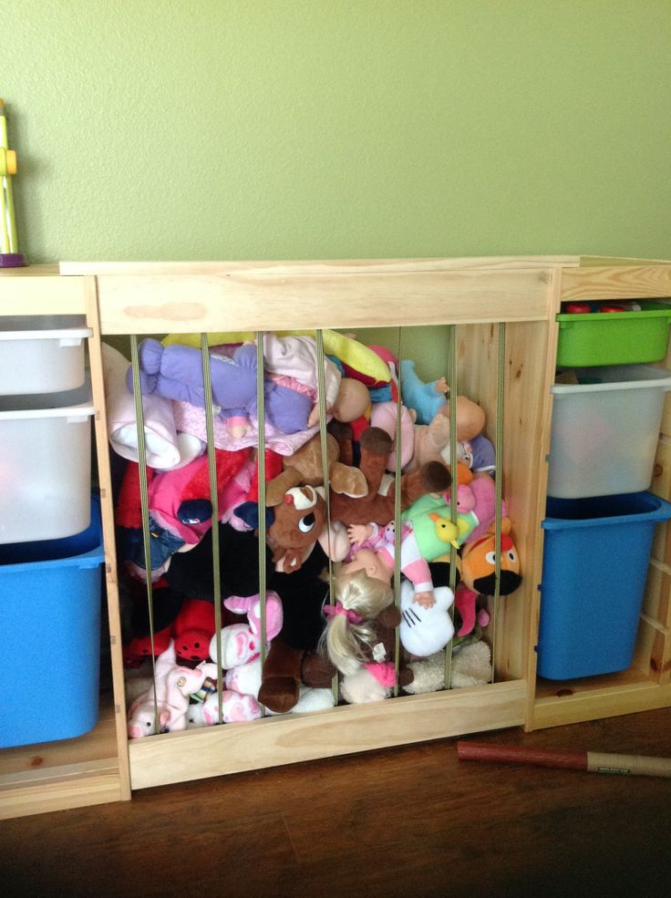 Stuffed Animal Zoo Attached Between 2 Ikea Toy Storage