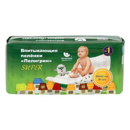 Пелигрин Пеленки впитывающие Super 60*60 см 30 шт.  — 847р. ---- Впитывающие детские пеленки Пелигрин для защиты кожи малыша и поверхности кроватки.    Классические пеленки «Пелигрин» - это всегда удобно:      пеленка хорошо пропускает влагу, оставляя кожу малыша сухой;     имеет повышенную впитываемость, что позволяет использовать меньшее количество пеленок;     надежно предотвращает протекание, защищая кроватки, матрасы, коляски и пеленальные столики.