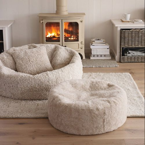 #Sheepskin at White Company....going back to 70's with the bean bag chairs,but so comfy to throw out on deck at beach.Covers removable to wash and can get in cotton foe cooler sitting