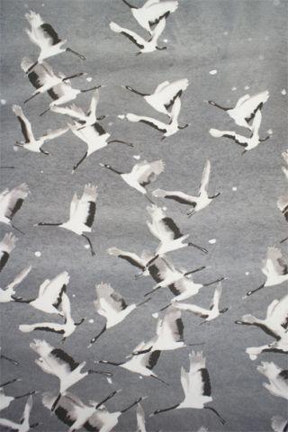 lotfi printed cranes silk fabric: Cranes Patterns, Prints Silk, Silk Fabrics, Cranes Prints, Fabrics Patterns, Illustration, Black White, Digital Prints, Birds Patterns