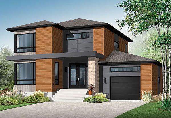 Affordable Contemporary Home This modern home makes excellent use of square footage making it a comfortable and affordable plan. Check out the modern fireplace and spacious bathroom on the second level. House Plan No.143173 House Plans by WestHomePlanners.com