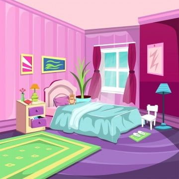 Vector Cartoon Illustration Interior Orange Blue Bedroom A Livi Interior Kamar Tidur Kamar Tidur Anak Anak Kamar Tidur
