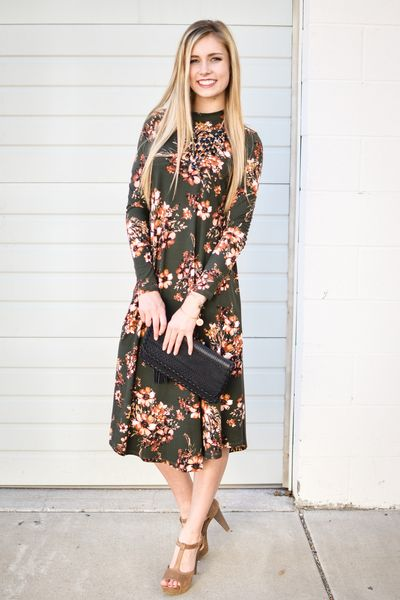 Bethany Floral Trapeze Dress In Olive - My Sisters Closet