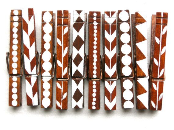 10 PAINTED CLOTHESPINS hand painted magnetic by SugarAndPaint,