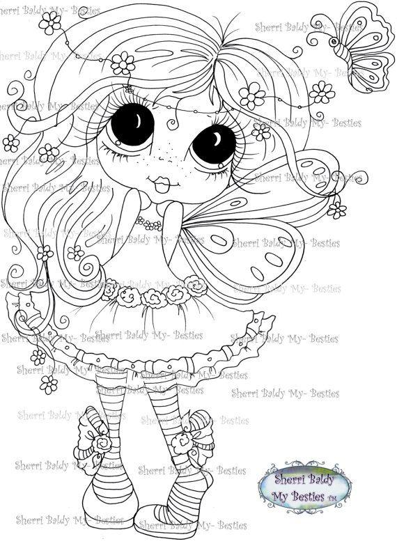INSTANT DOWNLOAD Digital Digi Stamps Big Eye Big Head Dolls Digi  My Besties IMG271 By Sherri Baldy