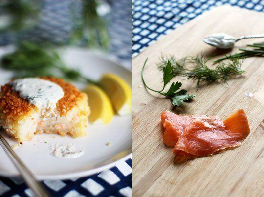 Smoked Salmon Potato Cakes with Herb Crème Fraîche   Recipe