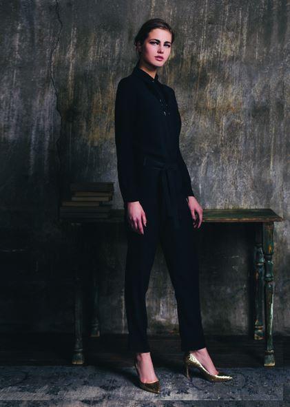 Kira Plastinina FW15/16 gold label black jumpsuit with fringe neck beading