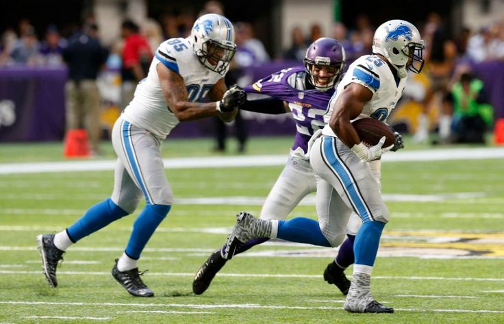 Lions vs. Vikings:  22-16, Lions  -  November 6, 2016  -    Detroit Lions running back Theo Riddick (25) gets a block from teammate Eric Ebron (85) as he runs from Minnesota Vikings free safety Harrison Smith (22) during the first half of an NFL football game Sunday, Nov. 6, 2016, in Minneapolis.