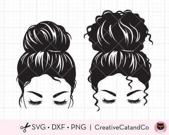 Messy Bun Svg Clipart Straight And Curly Hair Bun Girl With Eyelashes Woman Face With Messy Bun Silh Curly Bun Hairstyles Svg Silhouette Svg