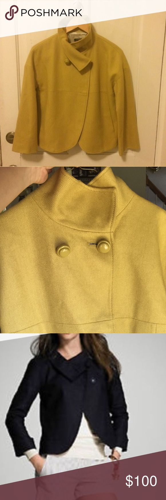 J Crew Aubrey herringbone jacket Only worn twice! Mustard color j crew wool jacket. Perfect for spring nights. Accepting offers and trades J. Crew Jackets & Coats
