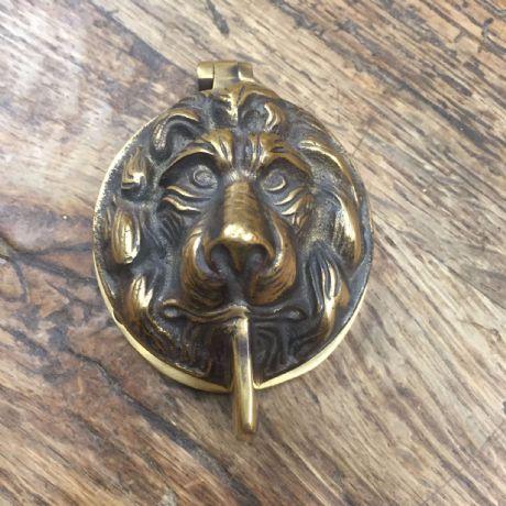 Antique Brass Lions Head Front Door Yale Lock Cover