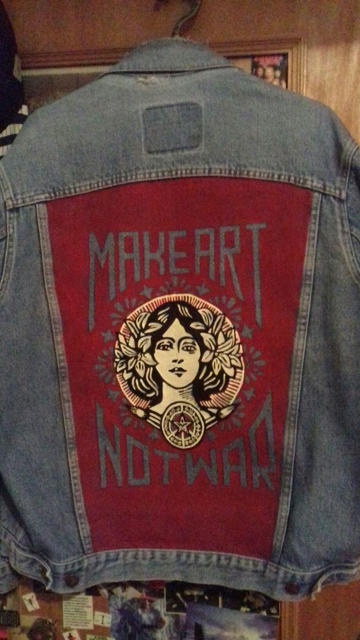 denim jacket  Make Art Not War Obey