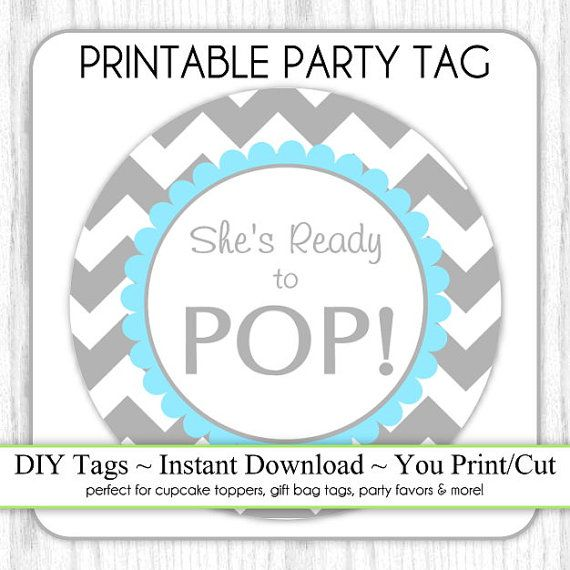 Instant Download   Gray And Blue Chevron About To Pop, Baby Shower  Printable Party Tag, Cupcake Topper, DIY, You Print, You Cut