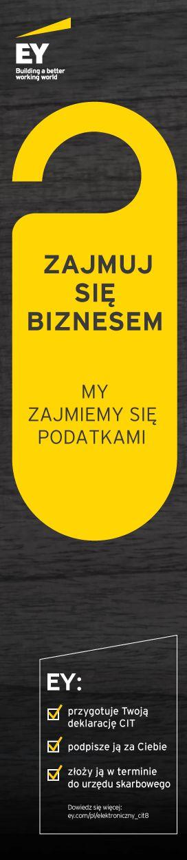 Zajmuj się biznesem. My zajmiemy się podatkami. http://www.ey.com/PL/pl/Services/Tax/Elektroniczny-CIT-8
