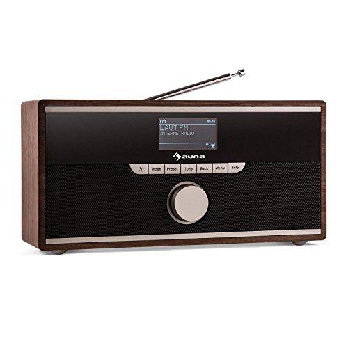 Auna Weimar – Radio numérique style rétro avec WiFi et Bluetooth (tuner DAB/DAB+, 2 réveils, prise AUX, sortie casque) – bois: Radio…