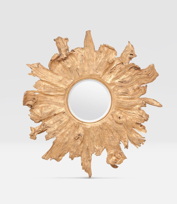 Gold Leaf Mangrove Wood Organically Shaped Mirror Beveled Mirror with D Ring Hardware, 26 Pounds Also Available in Whitewash  Each Piece is Unique Due to Natural Variance Varies in Shape, Texture and Color All Mirrors Offer Flame Like Shape
